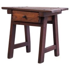 Vintage Southern Yellow Pine Side or Work Table 19th Century American South