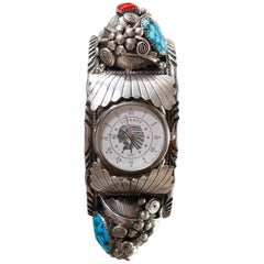 Vintage Southwest American Indian Navajo Sterling, Turquoise and Claw Watch