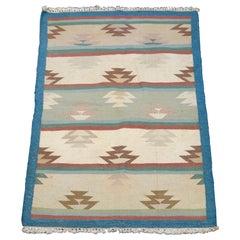 Vintage Southwestern Navajo Style Flat-Weave Area Rug Stylized Flame, circa 1950