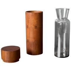 Vintage Sowe Konst Vase and Teak Cylinder Case