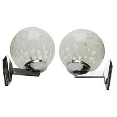 Vintage Space Age Chrome and Glass Wall Mounted Lamps Bongio, 1970s