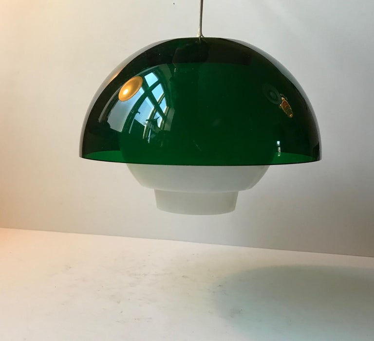 Danish Vintage Space Age Green & White Pendant Lamp by Bent Karlby for ASK, 1970s