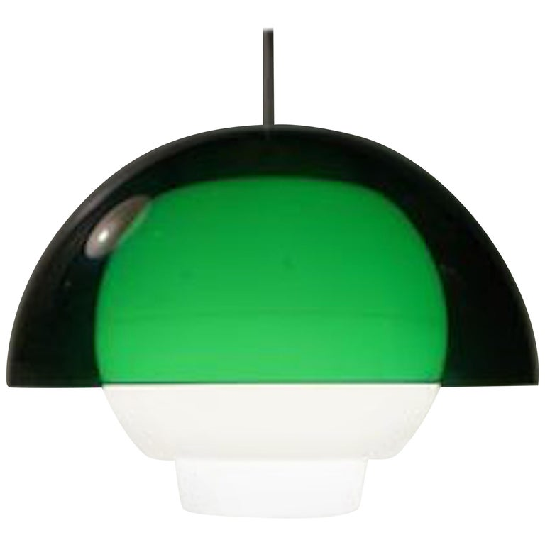 Vintage Space Age Green & White Pendant Lamp by Bent Karlby for ASK, 1970s