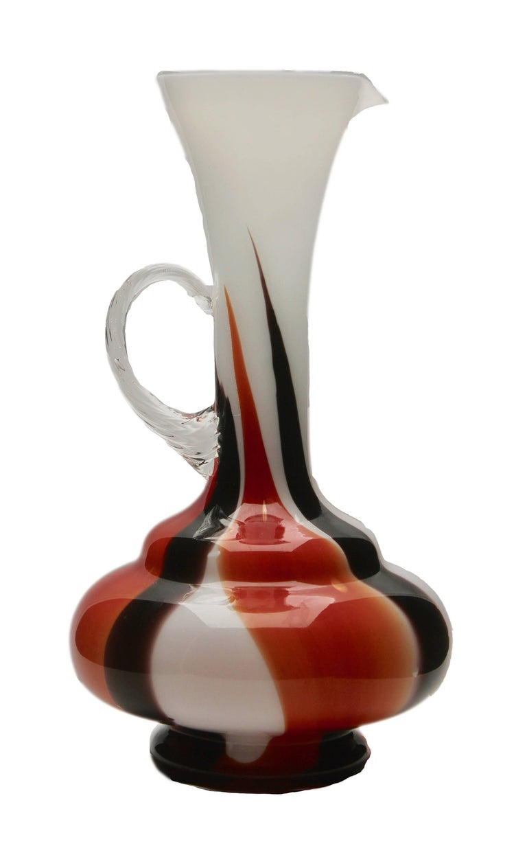 Vintage pitcher vase by Opaline di Florence. High contrast black red and white decor This is a rare color and size, a must have for any collector. Looks simply stunning.