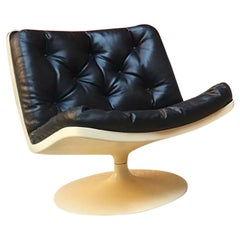 Vintage Space Age Plastic and Leather Tulip Armchair by Knoll/Play, 1970s