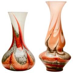 Vintage 'Space Age' Set Opaline Florence Vase, Empoli, 1955