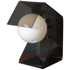 Vintage Space Age Smoked Lucite Globe Lamp