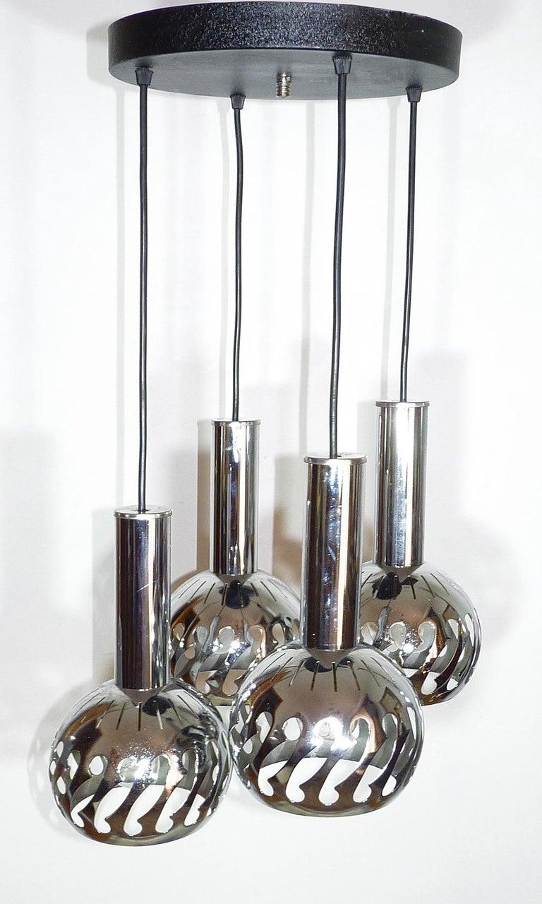 Mid-Century Modern Vintage Space Age Sputnik Chrome Cascade Chandelier 4-Light Pendant Ceiling Lamp For Sale