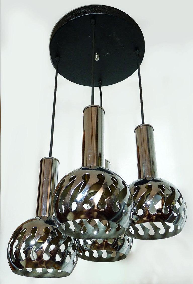 Italian Vintage Space Age Sputnik Chrome Cascade Chandelier 4-Light Pendant Ceiling Lamp For Sale