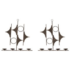 Vintage Spanish Abstract Iron Candle Wall Sconces