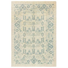 Vintage Spanish Blue & Ivory Hand-knotted Wool Rug