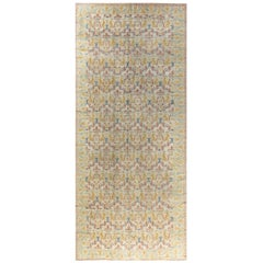 Vintage Spanish Botanic Red, Blue, Muted Gold, Beige Handmade Wool Carpet