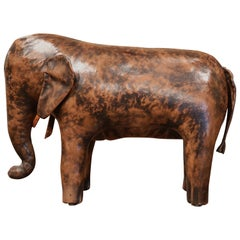 Vintage Spanish Brown Leather Elephant Sculpture Footstool