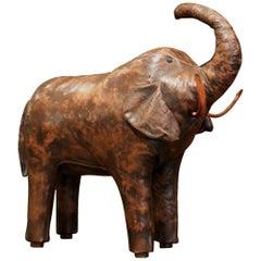 Vintage Spanish Brown Leather Elephant Sculpture Footstool
