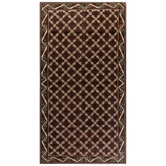 Vintage Spanish Chocolate Brown and Ivory Handwoven Wool Carpet