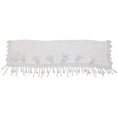 Vintage Spanish Crocheted Cotton Valance with Grapes