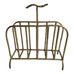 Vintage Spanish Faux-Bamboo Gilt-Metal Magazine Rack