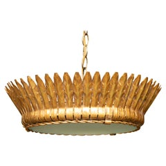 Vintage Spanish Gilt Metal Crown Chandelier with Frosted Glass and Leaf Motifs