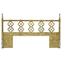 Vintage Spanish Italian Hollywood Regency Gold Fretwork Wood King Size Headboard