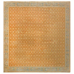 Vintage Spanish Light Brown and Blue Handwoven Wool Rug