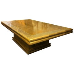 Vintage Spanish Golden Low Metal Sofa Table Signed by Rudolfo Dubarry