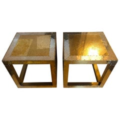 Vintage Spanish Pair of Golden Low Metal Sofa Tables Signed by Rudolfo Dubarry