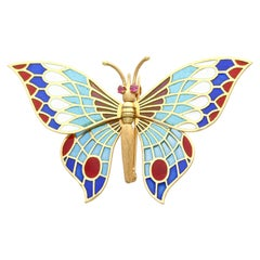 Vintage Spanish Plique-a-Jour and Ruby 18k Yellow Gold Butterfly Brooch