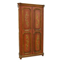 Vintage Spanish Rococo Style Parcel Gilt Painted Armoire