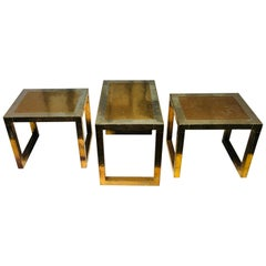 Vintage Spanish Set of Three Golden Metal Sofa Tables Signed by Rudolfo Dubarry