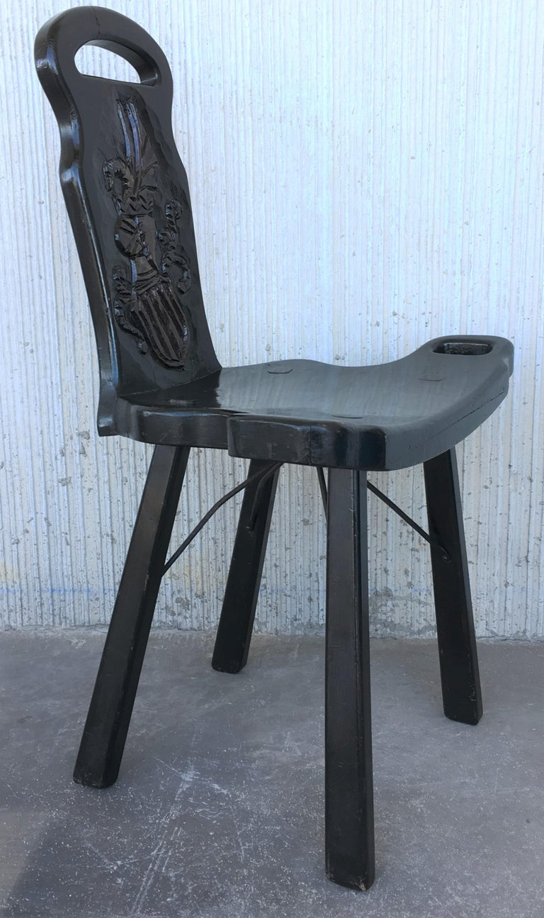 Vintage Spanish Sgabello Carved Side Chair or Stool In Excellent Condition For Sale In Miami, FL