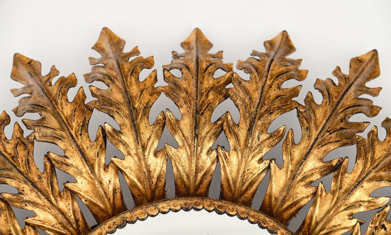 Vintage Spanish Sunburst Mirror with Backlight In Good Condition For Sale In Austin, TX