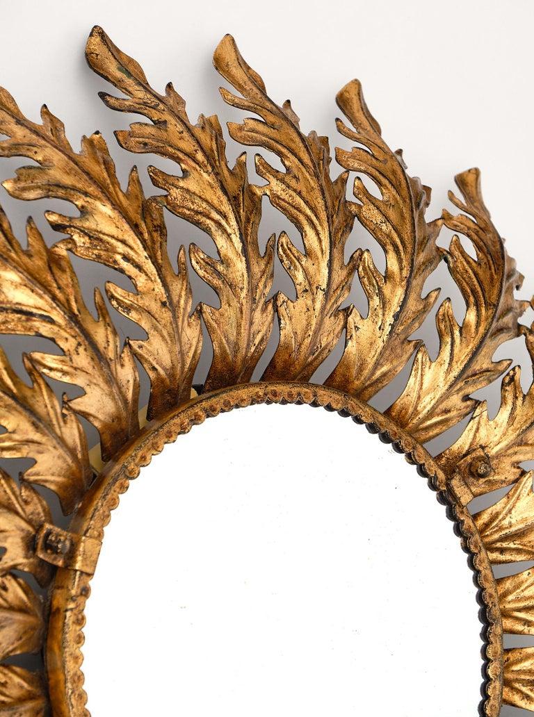 Mid-20th Century Vintage Spanish Sunburst Mirror with Backlight For Sale