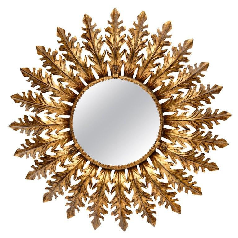 Vintage Spanish Sunburst Mirror with Backlight For Sale