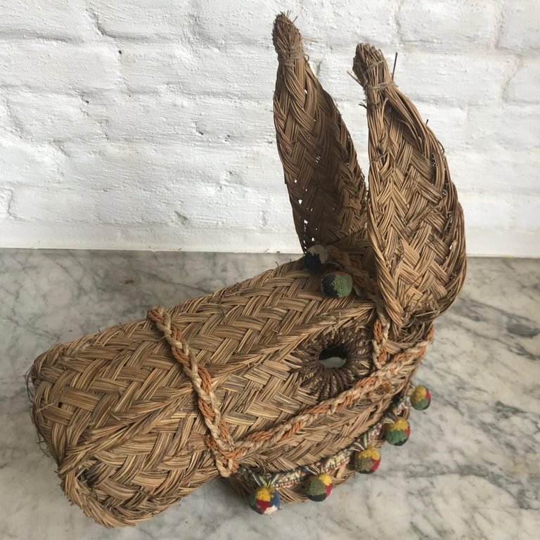 Hand-Woven Vintage Spanish Woven Spanish Esparto Straw Mule/ Donkey Head For Sale