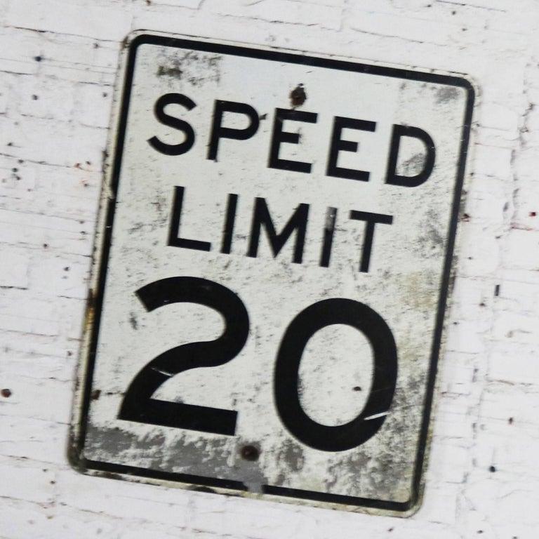 Industrial Vintage Speed Limit 20 Large Steel Traffic Sign For Sale