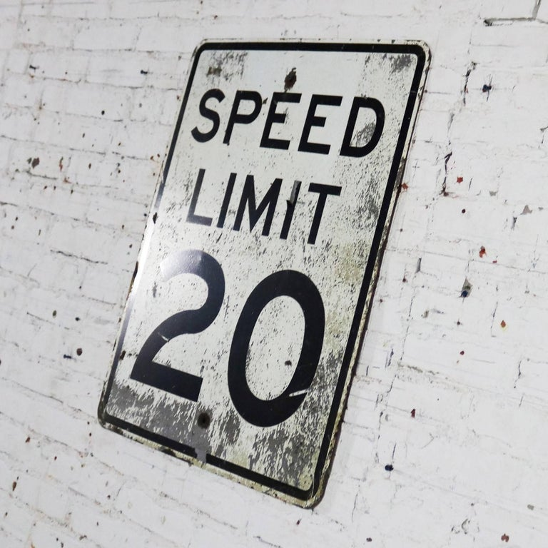 North American Vintage Speed Limit 20 Large Steel Traffic Sign For Sale