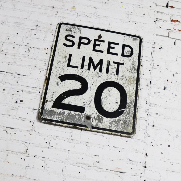 Vintage Speed Limit 20 Large Steel Traffic Sign In Good Condition For Sale In Topeka, KS