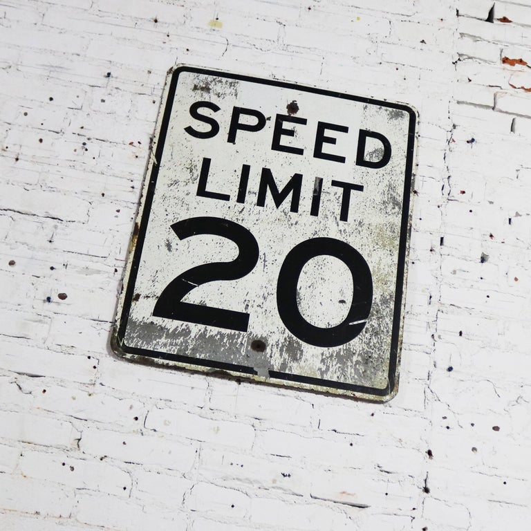 20th Century Vintage Speed Limit 20 Large Steel Traffic Sign For Sale