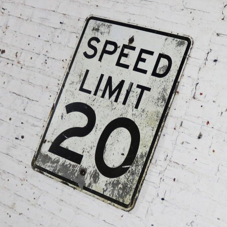 Vintage Speed Limit 20 Large Steel Traffic Sign For Sale 1