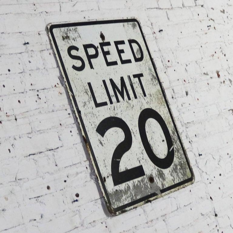 Vintage Speed Limit 20 Large Steel Traffic Sign For Sale 2