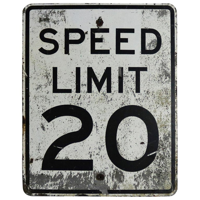 Vintage Speed Limit 20 Large Steel Traffic Sign For Sale