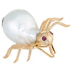 Vintage Spider Brooch Pendant 14 Karat Gold Baroque Pearl Ruby Eyes Jewelry