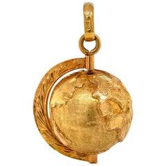 Vintage Spinning World Globe 18 Karat Gold Charm Estate Fine Jewelry