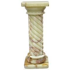 Vintage Spiral Carved Column Form Tall Onyx Pedestal Plant Stand