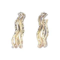 Vintage Spiral Design 18 Karat Gold Hoop Earrings