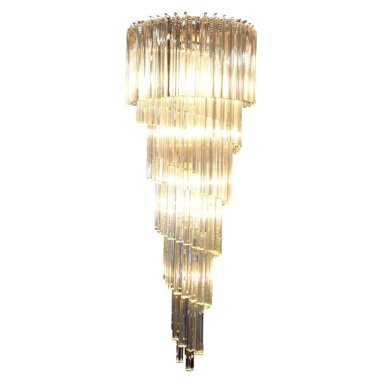 Vintage Spiral Murano Glass Chandelier by Venini For Sale