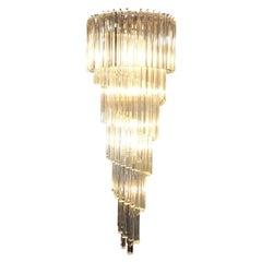 Vintage Spiral Murano Glass Chandelier by Venini
