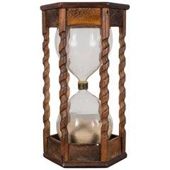 Vintage Spiral Wood Hourglass, circa 1940-1960
