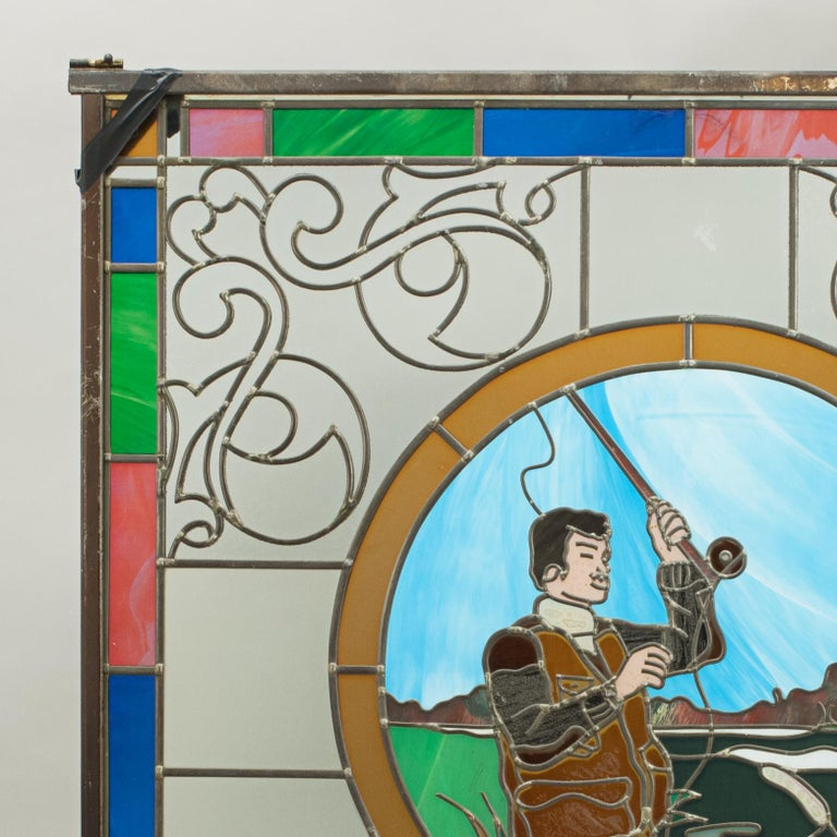 Vintage Sporting Stained Glass Lead Windows, Football, Fishing, Golf & Athletics For Sale 5