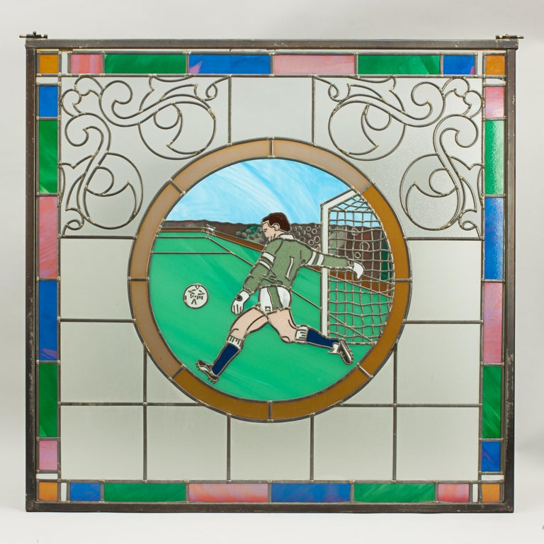 Vintage Sporting Stained Glass Lead Windows, Football, Fishing, Golf & Athletics For Sale 7